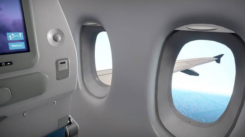 Vista interior da aeronave durante a viagem para o Canadá