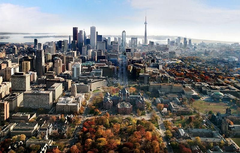 Vista aérea de Toronto no Canadá