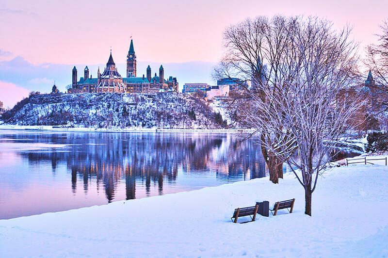 Paisagem de inverno em Ottawa