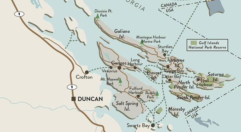 Mapa das Ilhas do Golfo em Vancouver